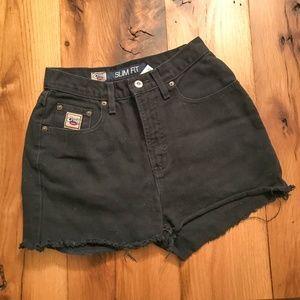 Vintage 80s High Waist Black Denim Cut off Shorts